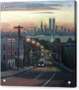 Victory Boulevard At Dawn Acrylic Print by Sarah Yuster