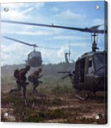 Vietnam War, Uh-1d Helicopters Airlift Acrylic Print by Everett