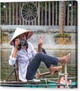 Vietnamese Lady Photographer At Tam Coc Acrylic Print