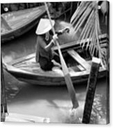 Vietnamese Woman Boat Ores Really For Tourist Mekong Delta  Acrylic Print