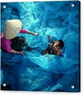 Vietnamese Women Repair Fishing Net And Fish Nets. Acrylic Print