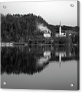 View Across Lake Bled In Black And White Acrylic Print