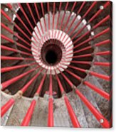 View Down The Steel Double Helix Spiral Staircase At The Ljublja Acrylic Print
