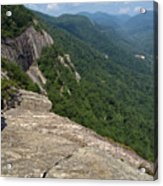 View From Exclamation Point At Chimney Rock Nc Acrylic Print