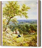 View From The Hill On The Village Below. P B With Decorative Ornate Printed Frame. Acrylic Print