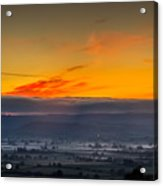View From The Top Of Glastonbury Tor At Sunrise Acrylic Print