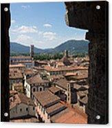 View Of Buildings Through Window Acrylic Print