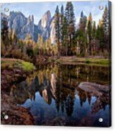 View Of Cathedral Peaks Acrylic Print by