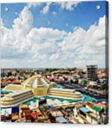 View Of Central Market Landmark In Phnom Penh City Cambodia Acrylic Print