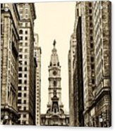 View Of Cityhall From Broad Street In Philadelphia Acrylic Print