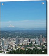 View Of Downtown Portland Oregon From Pittock Mansion Acrylic Print