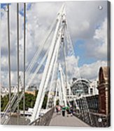 View Of Golden Jubilee Bridge, Thames Acrylic Print