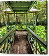 View Of Lily Pads From Gazebo By Kaye Menner Acrylic Print