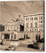 View Of Montgomery County Courthouse From The Southside In Sepia Acrylic Print