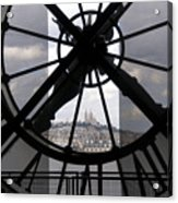 View Of Montmartre Through The Clock At Museum Orsay.paris Acrylic Print by Bernard Jaubert
