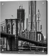 View Of One World Trade Center And Brooklyn Bridge Acrylic Print