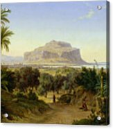 View Of Palermo With Mount Pellegrino Acrylic Print by August Wilhelm Julius Ahlborn