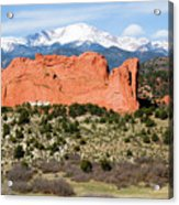 View Of Pikes Peak And Garden Of The Gods Park In Colorado Springs In Th Acrylic Print