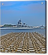 View Of The Battleship New Jersey From Philadelphia Acrylic Print