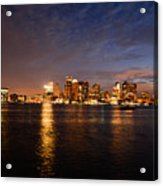 View Of The Boston Waterfront At Night Acrylic Print