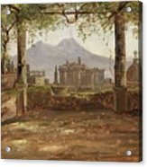 View Of The Castel Nuovo And Vesuvius From A Pergola Acrylic Print