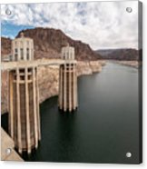 View Of The Hoover Dam Lake With Low Water Reserves Acrylic Print