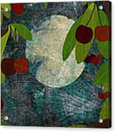View Of The Moon And Cherries Growing On Trees At Night Acrylic Print by Jutta Kuss