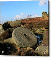 View Of The Mother Cap Gritstone Rock Formation, Millstone Edge Acrylic Print