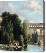 View Of The Pont Du Gard Acrylic Print by Henri Marie Poinsot