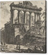 View Of The So-called Temple Of Concord With The Temple Of Saturn, On The Right The Arch Of Septimiu Acrylic Print