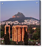 View Of The Temple Of Olympian Zeus And Mount Lycabettus In The  Acrylic Print