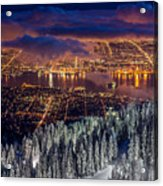 View Of Vancouver From Grouse Mountain At Sunset Acrylic Print