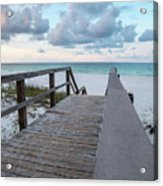 View Of White Sand And Blue Ocean From Wooden Boardwalk Acrylic Print