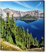 View Of Wizard Island Crater Lake Acrylic Print
