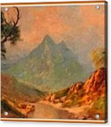 View On Blue Tip Mountain H A With Decorative Ornate Printed Frame. Acrylic Print