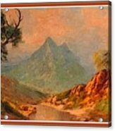 View On Blue Tip Mountain H B With Decorative Ornate Printed Frame. Acrylic Print