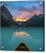 Viewing Snowy Mountain In Rising Sun From A Canoe Acrylic Print