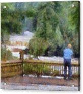 Viewing Tahquamenon Lower Falls Upper Peninsula Michigan Pa Acrylic Print
