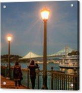 Viewing The Bay Bridge Lights Acrylic Print