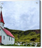Vik Church And Cemetery - Iceland Acrylic Print