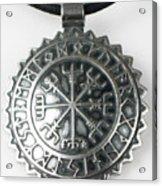 Viking Vegvisir Rune Calendar Sterling Silver Pendant Acrylic Print