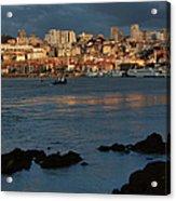 Vila Nova De Gaia In Portugal At Sunset Acrylic Print