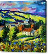 Village and blue poppies  Acrylic Print