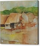 Village Huts On Rockside Acrylic Print