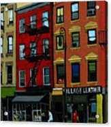Village Leather - New York Cityscape Acrylic Print