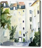 Village Saint Paul Watercolor Painting Of Paris Acrylic Print by Beverly Brown