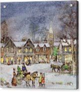 Village Street In The Snow Acrylic Print by Stanley Cooke