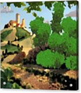 Village. Tower On The Hill Acrylic Print