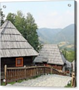 Village With Wooden Cabin Log On Mountain Acrylic Print