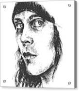 Ville Valo Portrait Acrylic Print by Alexandra-Emily Kokova